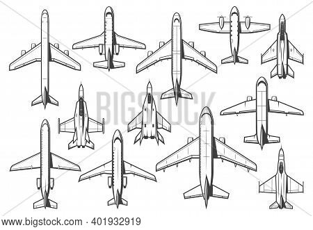Modern Civil And Military Aircraft Set. Passenger Airliner, Business Jet And Cargo Plane, Army Fight