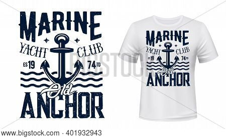 Yachting Club T-shirt Vector Print With Anchor. Old Admiralty Pattern Yacht Anchor Illustration And
