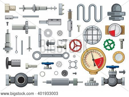Mechanisms Spare Parts And Engineering Industry Elements Cartoon Vector Set. Worm, Bevel, And Helica