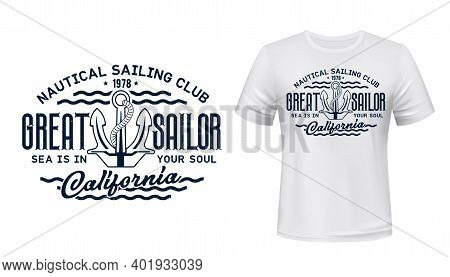 Nautical Sailing Club T-shirt Vector Print. Vessel Stockless Anchor With Rope In Shackle Ring Illust