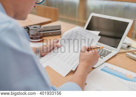 Businessman Working Data Document Report Marketing Research, Development Planning, Management Strate
