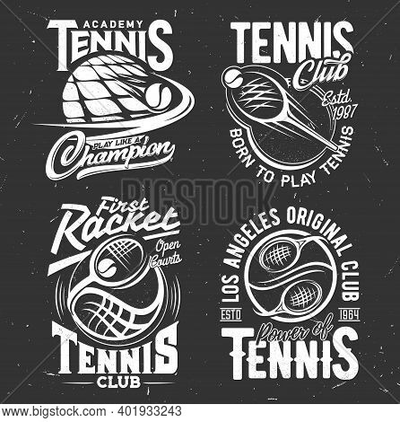Tennis Sport Vector Tshirt Prints. Playing Rackets And Balls On Black Grunge Background. Tennis Spor