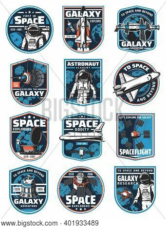 Astronaut In Galaxy, Rocket In Outer Space Vector Icons. Cosmos Explore Shuttles Expedition, Explora