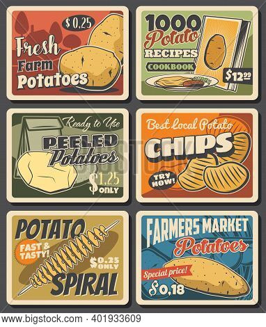 Potato Meals And Vegetable Farm Harvest Banners. Ripe And Peeled Potatoes, Chips Spiral And Street F