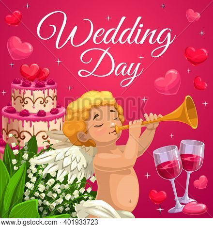 Wedding Day Celebration And Marriage Ceremony. Cherub Or Angel Blowing In Trumpet, Wedding Cake With