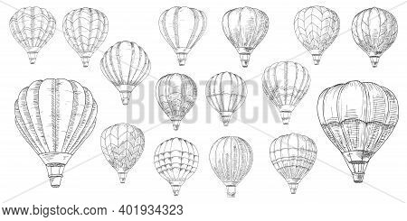 Retro Hot Air Balloons Sketches. Vintage Lighter Than Air Aircraft, Balloon With Inflated Hot Propan