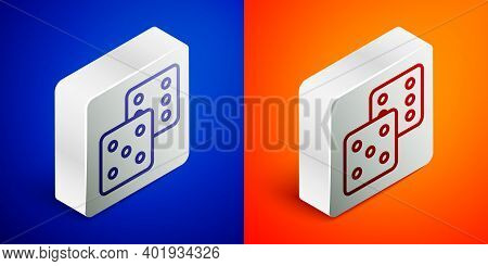 Isometric Line Game Dice Icon Isolated On Blue And Orange Background. Casino Gambling. Silver Square