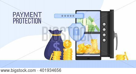 Mobile Internet Payment, Online Banking Transaction Data Protection Vector Banner With Safe, Money B