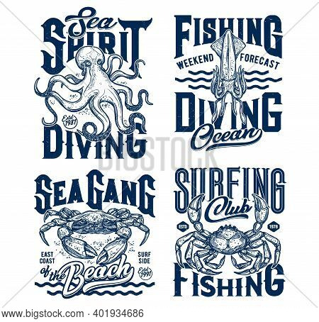 Tshirt Prints With Underwater Animals Vector Sketch Squid, Crab And Octopus. Scuba Diving Or Fishing