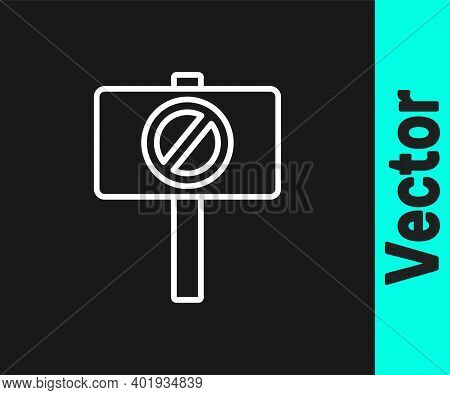 White Line Protest Icon Isolated On Black Background. Meeting, Protester, Picket, Speech, Banner, Pr