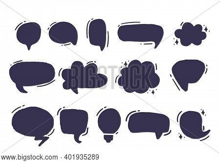 Empty Grunge Speech And Thought Bubbles. Vector Illustration