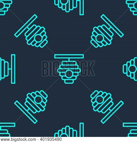 Green Line Hive For Bees Icon Isolated Seamless Pattern On Blue Background. Beehive Symbol. Apiary A