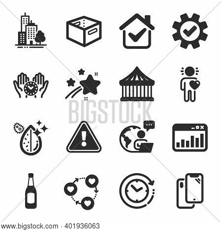 Set Of Business Icons, Such As Service, Office Box, Safe Time Symbols. Friends Community, Marketing
