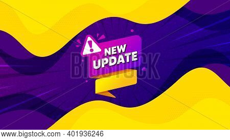 New Update Paper Banner. Fluid Liquid Background With Offer Message. Important Message Tag. Exclamat