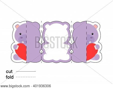 Cute Hippo Hold Heart. Fold Long Greeting Card Template. Great For St. Valentine Day, Birthdays, Bab