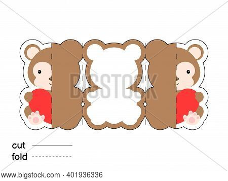 Cute Monkey Hold Heart. Fold Long Greeting Card Template. Great For St. Valentine Day, Birthdays, Ba