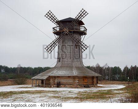 Belarusian Hinterland Old Ethnic Wooden Windmill Pp