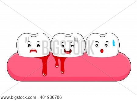 Cute Cartoon Tooth Character With Gum Problem. Dental Care Concept, Gingivitis And Bleeding. Vector