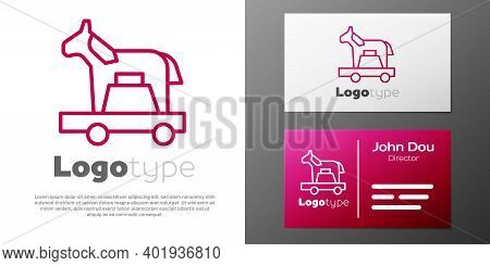 Logotype Line Trojan Horse Icon Isolated On White Background. Logo Design Template Element. Vector