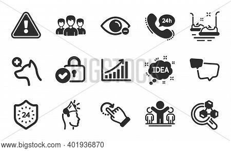 24 Hours, Brand Ambassador And Verified Locker Icons Simple Set. Bumper Cars, Idea And Rotation Gest