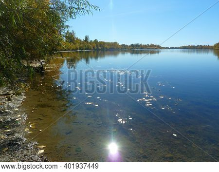 Shinny Sun Reflected In Lake . Countryside Landscape