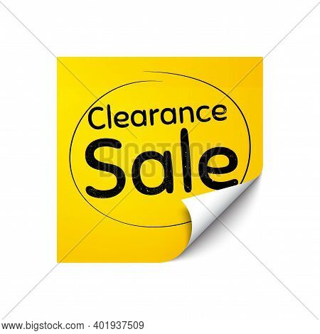 Clearance Sale Symbol. Sticker Note With Offer Message. Special Offer Price Sign. Advertising Discou