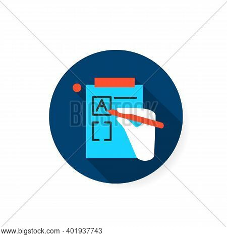 Version Control Flat Icon. Sign Of Hand, Editing Product Version Form. Concept Of Creative Product E