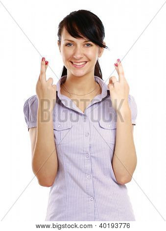Portrait of superstitious young female with crossed fingers poster