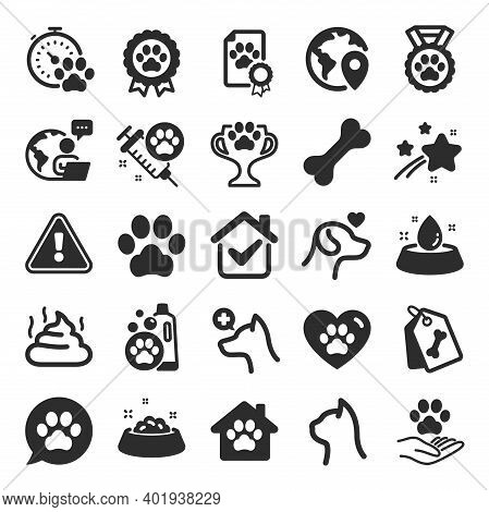 Pets Icons. Veterinary, Dog Care And Cat Food. Lovely Animals, Shampoo For Pets And Doghouse Icons.