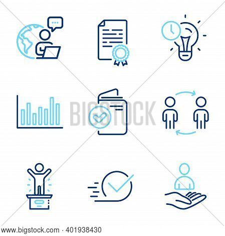 Education Icons Set. Included Icon As Verification Document, Checkbox, Certificate Diploma Signs. Ba
