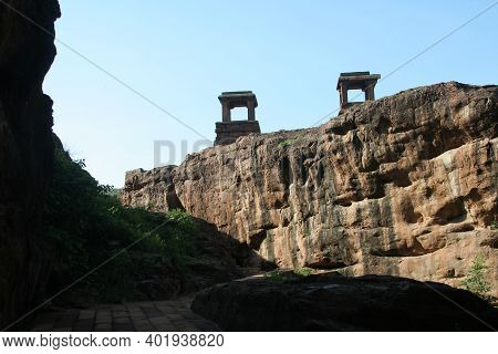 Stone Platforms Erected On Hilltop To Afford Overall View At Badami In Karnataka, India, Asia
