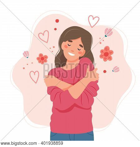 Love Yourself Concept, Woman Hugging Herself, Vector Illustration In Flat Style