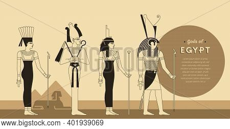 A Collection Of Vector Illustrations By The Ancient Egyptian Gods And Goddess Anuket, Osiris, Isis A