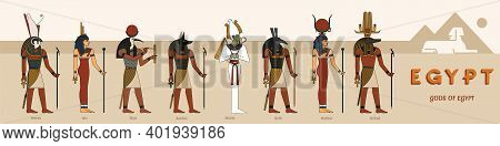 A Large Collection Of Ancient Egyptian Gods From Eight Vector Illustrations Against The Backdrop Of