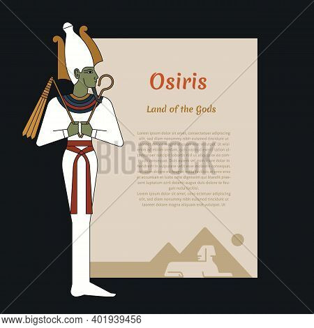 Ancient Egypt Template With Place For Text. With Illustrations Of The Gods Of Ancient Egypt Osiris.