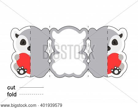 Cute Lemur Hold Heart. Fold Long Greeting Card Template. Great For St. Valentine Day, Birthdays, Bab