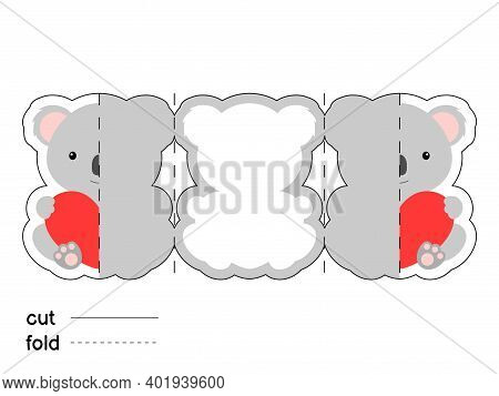 Cute Koala Hold Heart. Fold Long Greeting Card Template. Great For St. Valentine Day, Birthdays, Bab