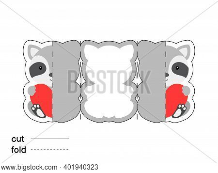 Cute Raccoon Hold Heart. Fold Long Greeting Card Template. Great For St. Valentine Day, Birthdays, B