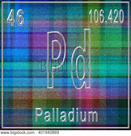 Palladium Chemical Element, Sign With Atomic Number And Atomic Weight, Periodic Table Element