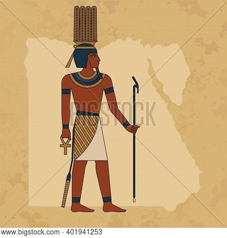 The Egyptian Ancient God Anhur Painted Against The Backdrop Of A Map Of Egypt And A Papyrus. Eps 10.