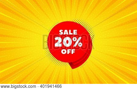 Sale 20 Percent Off Banner. Yellow Background With Offer Message. Discount Sticker Shape. Coupon Bub