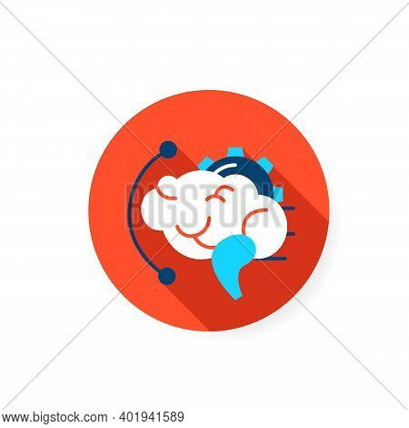 Brainstorming Flat Icon. Effective Brain With Gear Sign. Creative Art Idea Production And Thinking P
