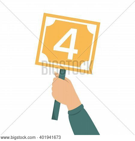 Hand Holding Scorecard With Number 4 Vector Isolated
