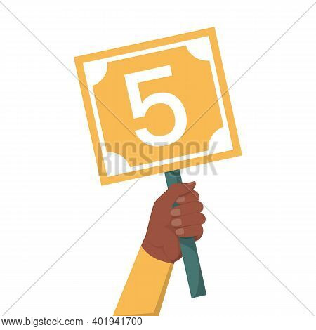Hand Holding Scorecard With Number 5 Vector Isolated
