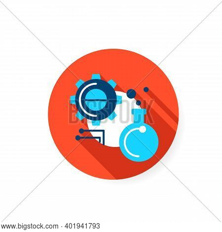Experiment Flat Icon. Glass Bulb With Gear And Information Link Sign. Creative Idea Test, Scientific