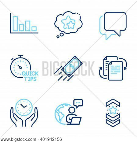 Education Icons Set. Included Icon As Bureaucracy, Talk Bubble, Ranking Stars Signs. Histogram, Quic