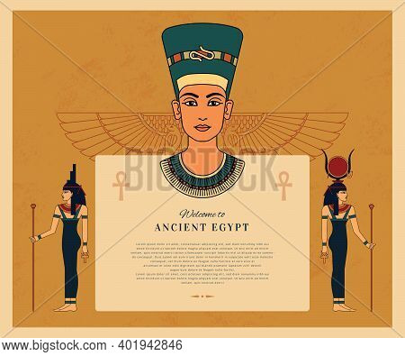 Template Welcome To Ancient Egypt With Place For The Text And Egyptian Goodness Isis, Hathor, Queen