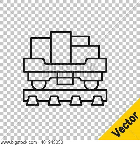 Black Line Cargo Train Wagon Icon Isolated On Transparent Background. Full Freight Car. Railroad Tra