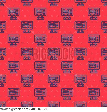 Blue Line Ticket Office To Buy Tickets For Train Or Plane Icon Isolated Seamless Pattern On Red Back