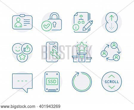 Technology Icons Set. Included Icon As Teamwork, Loop, Swipe Up Signs. Like, Ssd, Blog Symbols. Smar